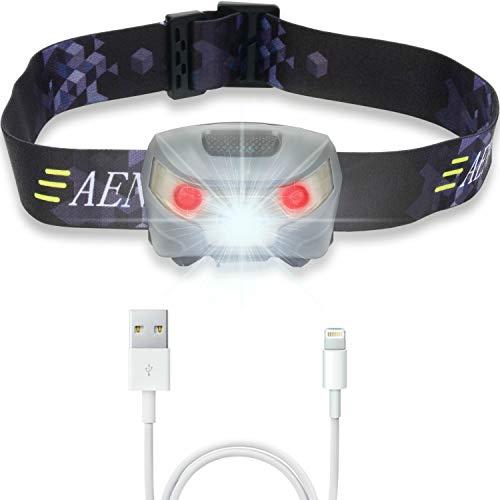 USB Wiederaufladbare LED Stirnlampe Kopflampe, Sehr hell, wasserdicht, leicht und bequem, Perfekt fürs Joggen, Gehen, C...
