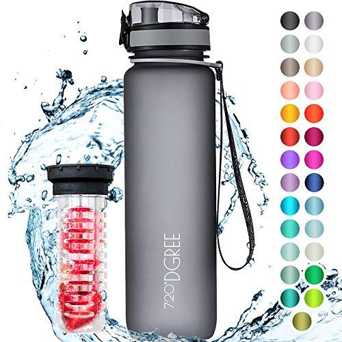 """720°DGREE Trinkflasche """"uberBottle"""" softTouch +Früchtebehälter - 1L - BPA-Frei - Wasserflasche für Uni, Sport, F..."""