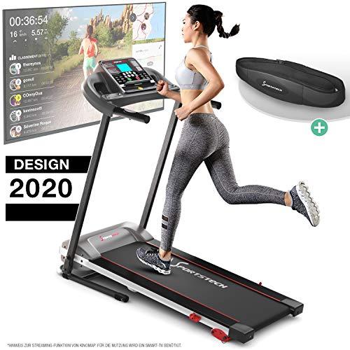 Sportstech F10 Laufband Modell 2020 - Deutsche Qualitätsmarke + Video Events & Multiplayer APP – NEUE Konsole Pulsgur...