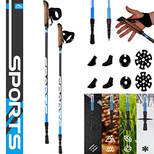 MSPORTS Nordic Walking Stöcke Premium - hochwertige Qualität - Superleicht - Walking Sticks