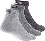 PUMA Plain 3P Quarter Socke, Grau (Anthrazit/L Mel Grey/M ...