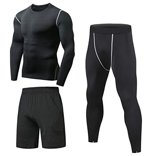 Niksa Sportbekleidung Herren Fitness Bekleidung Trainingsanzug 3pcs Set Fit elastische Sportwear Fitness Kompressionsshi...