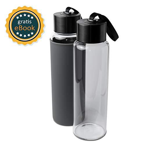 Basil | Premium Wasserflasche Glas & Trinkflasche aus hochwertigem borosilikat Glas | 1000ml | auslaufsicher, BPA frei &...