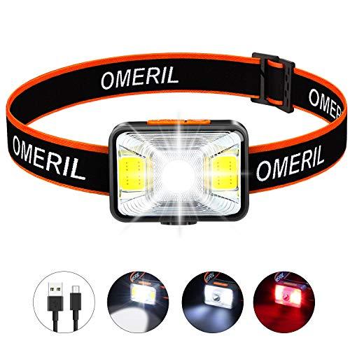 OMERIL Stirnlampe LED Wiederaufladbar USB Kopflampe Stirnlampe Kinder, Sehr hell, wasserdichte Mini Stirnlampe Rotlicht ...