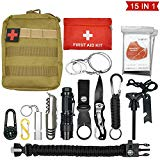 Abida Survival Kit, 15 in 1 Outdoor Emergency Survival Kit...