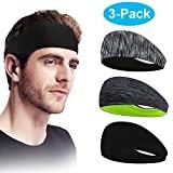 Sporgo Sport Stirnband,3 Pack Schweißband Anti Rutsch Her...