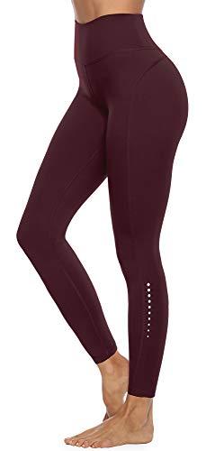 JOYSPELS Sporthose Damen, Leggings Damen Yogahose Sportleggins Lang Sportbekleidung, Cassis 38-40 M
